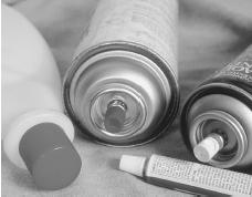 Samples of some hazardous substances that might be abused as inhalants, including nail polish remover, aerosols, paint thinner, and glue. (Custom Medical Stock Photo, Inc. Reproduced by permission.)